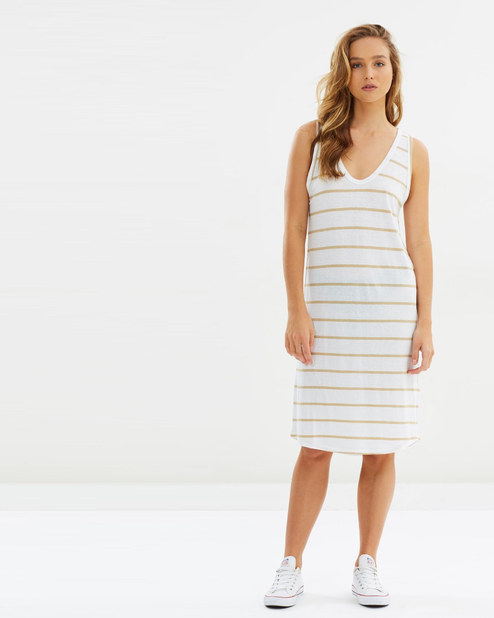 Assembly Label Curve Dress Dresses Sand Stripe Curve Dress