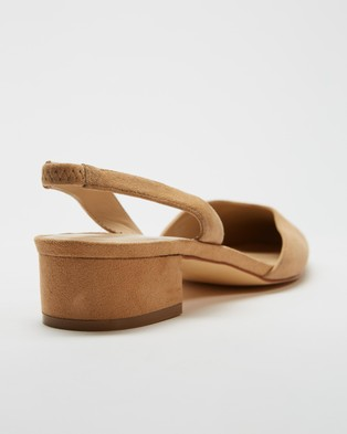 Atmos&Here Zena Leather Slingback Heels - Sandals (Fawn Suede)