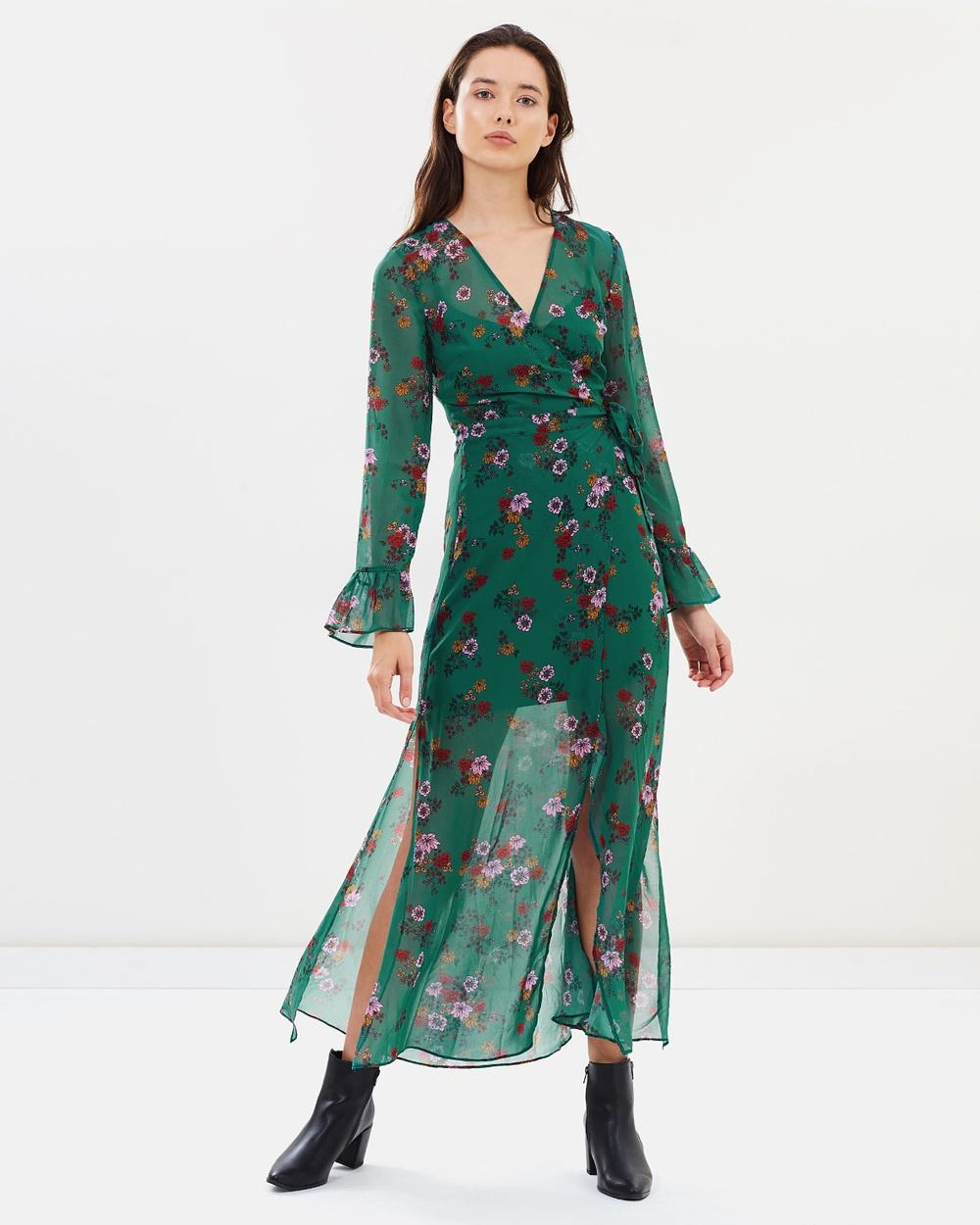 The Fifth Label Myrtle Green Floral Keystone Wrap Dress