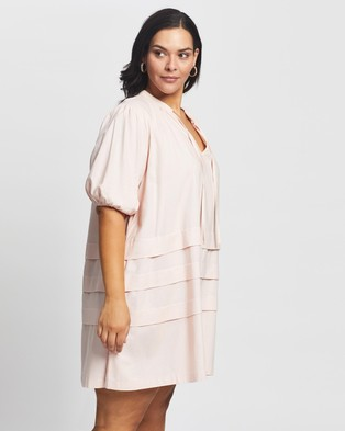 Atmos&Here Curvy Carmen Linen Blend Smock Mini Dress - Dresses (Pink)