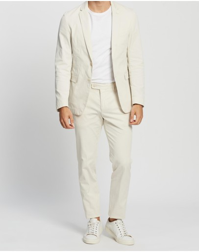 Boss Slim Fit Suit In Stretch Cotton Natural