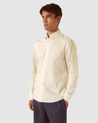 SABA SB Toby Stripe Long Sleeve Voile Shirt - Shirts & Polos (Lemon)