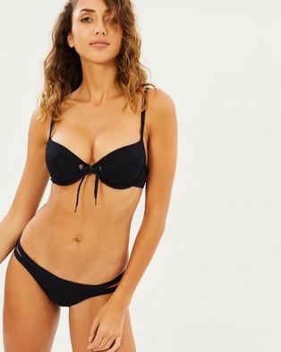 Seafolly – Inka Rib Brazilian Bikini Bottoms Black