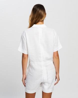 Assembly Label Blair Linen Playsuit - Jumpsuits & Playsuits (White)