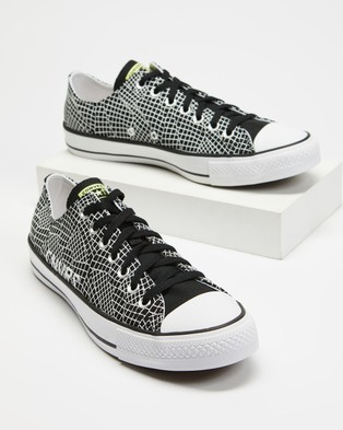Converse - Chuck Taylor All Star Topographic Low Tops Men's Sneakers (Black, Light Zitron & White)