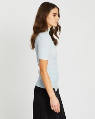 SABA Jac Short Sleeve Asymmetrical Rib Knit - Jumpers & Cardigans (blue)