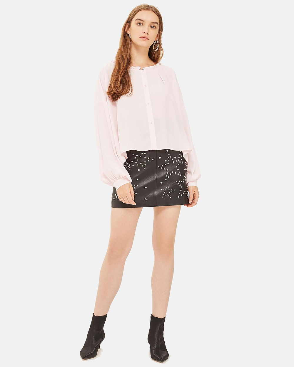 TOPSHOP Ruffle Neck Long Sleeve Shirt Tops Light Pink Ruffle Neck Long Sleeve Shirt