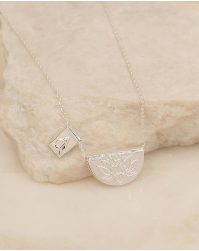 By Charlotte - Lotus Little Buddha Short Silver Pendant Necklace