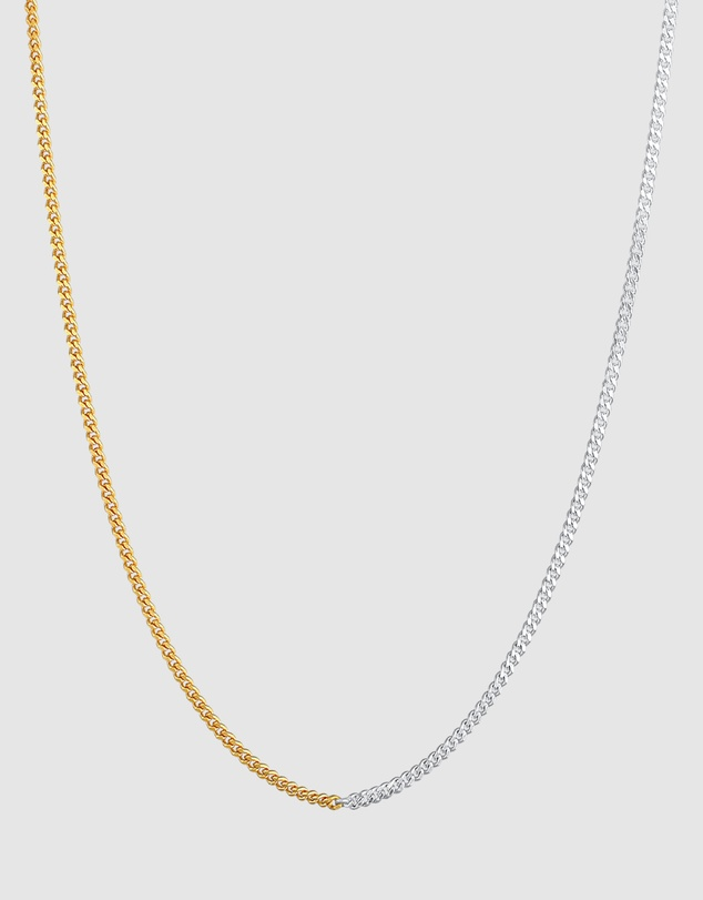 Women Necklace Curb Chain Basic Chunky Chain Bi-Colour Trend in 925 Sterling Silver Gold Plated