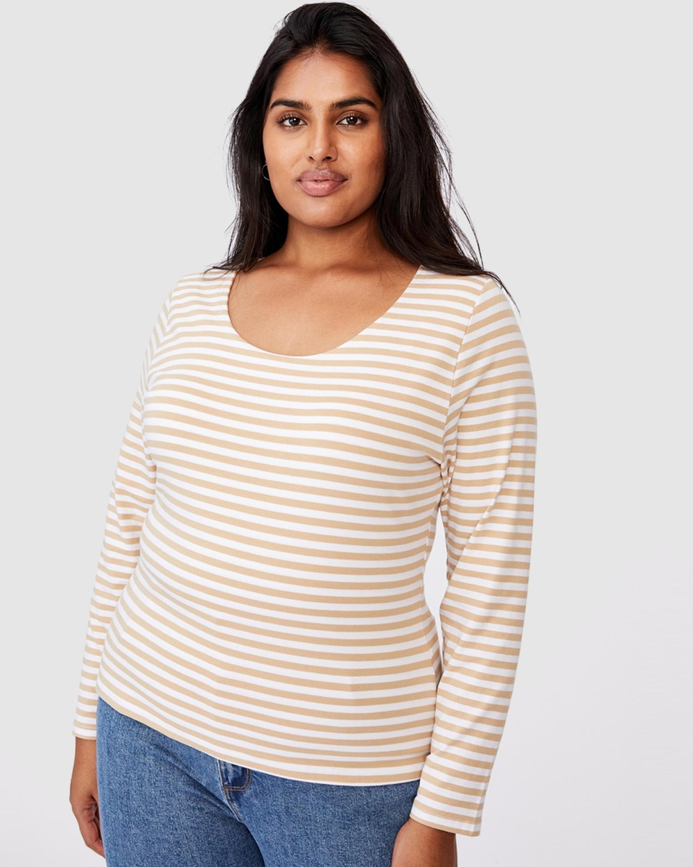 Cotton On Curve - Everyday Long Sleeve Scoop Top - T-Shirts & Singlets (Stripe White & Sand Dune) Everyday Long Sleeve Scoop Top