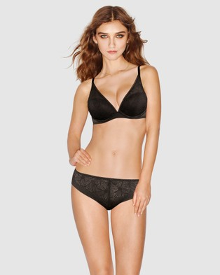 Wonderbra Fabulous Feel Padded Triangle Bra - Push Up Bras (Black)