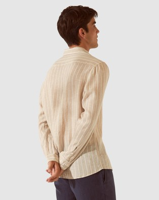SABA SB Lance Stripe Long Sleeve Linen Shirt - Shirts & Polos (Natural Ivory)
