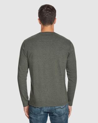 Tarocash - Dominic Crew Stripe Tee - Long Sleeve T-Shirts (KHAKI) Dominic Crew Stripe Tee