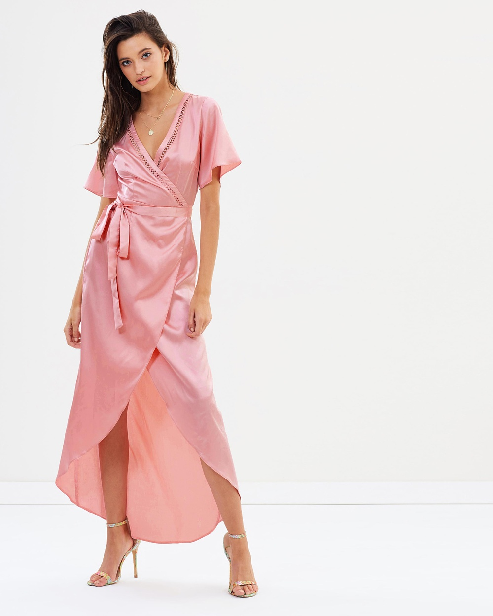 Dazie Stella Wrap Silky Dress Dresses Pink Stella Wrap Silky Dress