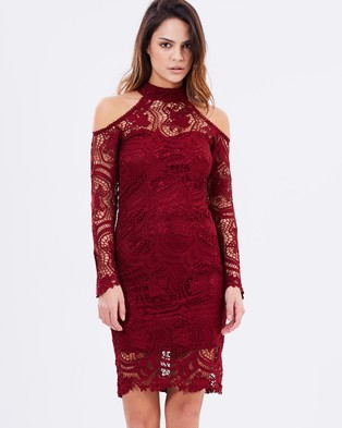 Airlie – Celia Lace Dress Burgundy