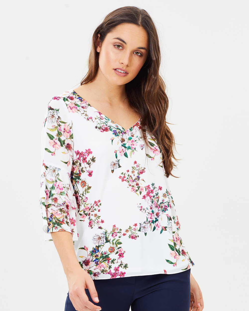 Wallis Floral Double Ruffle Top Tops Cream Floral Double Ruffle Top