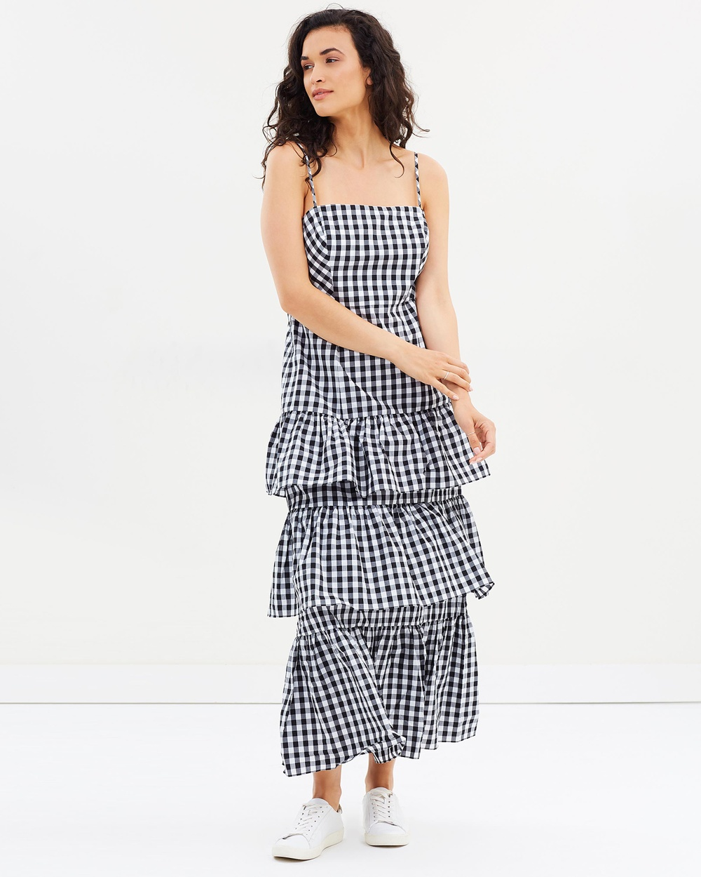 J.Crew Dabble Gingham Long Gown Printed Dresses Black Dabble Gingham Long Gown