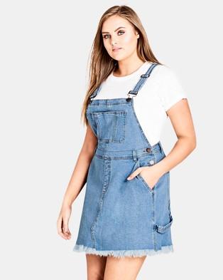 City Chic – Denim Bib Dress Denim