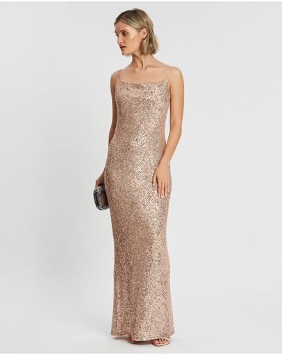 Shona Joy Bias Cowl Maxi Dress Rose Gold