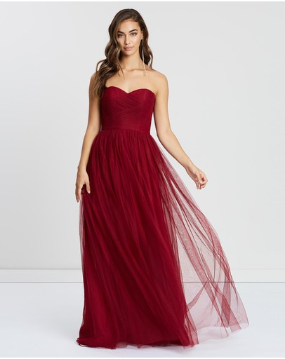 Bariano Ana Sweetheart Tulle Gown Burgundy