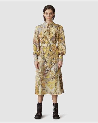 Leo & Lin Illusory Cotton Linen Midi Dress Yellow