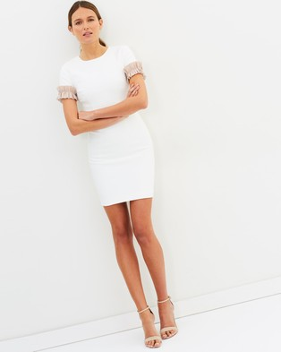 BY JOHNNY. – Ruffle Sleeve Tee Mini Dress – Bodycon Dresses White & Nude