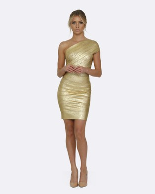 Honey Couture – DANA Foil One Shoulder Bandage Dress – Bodycon Dresses Gold