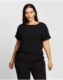 Atmos&Here Curvy - Bianca Button Tab Woven Tee