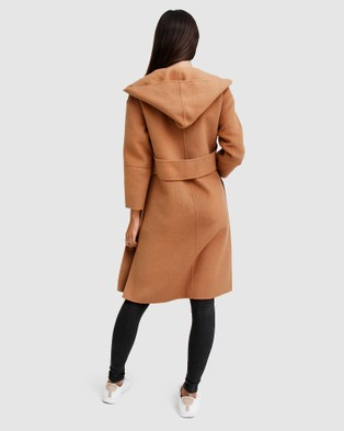 Belle & Bloom Walk This Way Wool Blend Hooded Coat - Coats & Jackets (Brown)