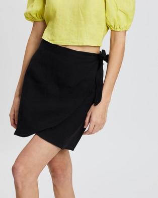 AERE Linen Wrap Skirt - Skirts (Black)