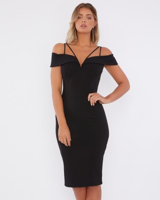 Calli – Ada Off Shoulder Dress – Bodycon Dresses Black