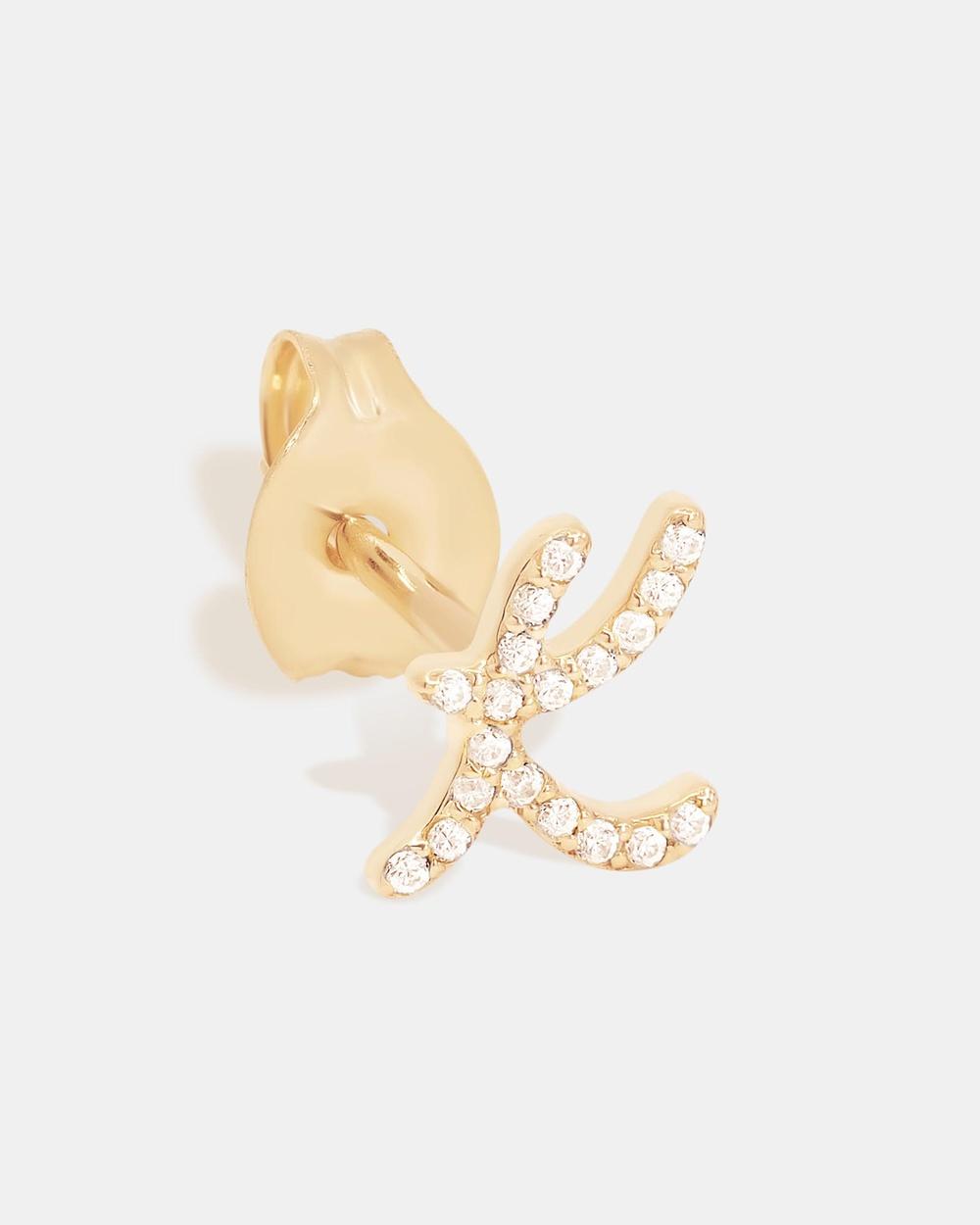 By Charlotte 14K Gold Diamond Love Letter K Single Earring Jewellery Gold K
