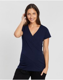Angel Maternity - Maternity Short Sleeve Crossover Top