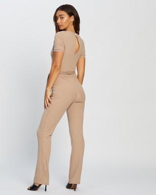 Missguided Rib Short Sleeve Flare Leg Jumpsuit - Jumpsuits & Playsuits (Stone)
