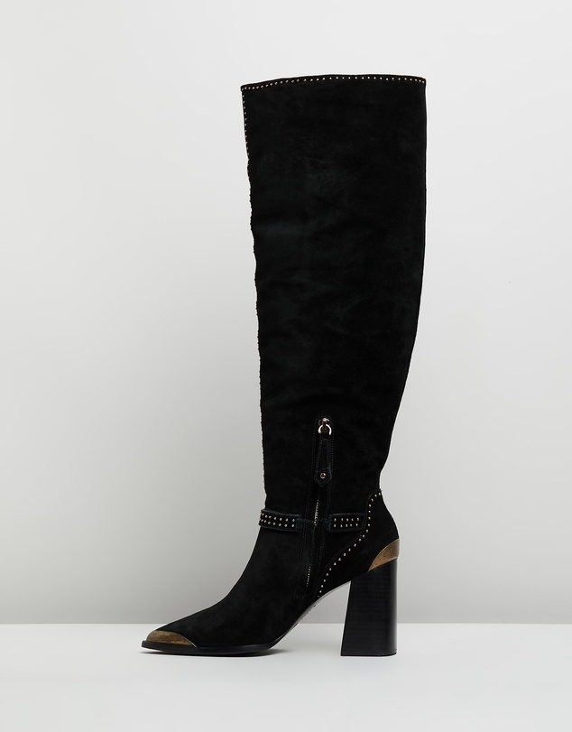 Camilla - Knee-High Heel Buckle Boots