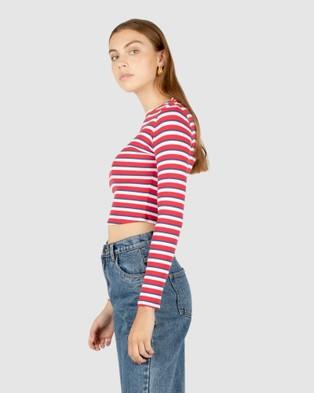 Cools Club - High Neck Rib Long Sleeve - Long Sleeve T-Shirts (Red) High Neck Rib Long Sleeve