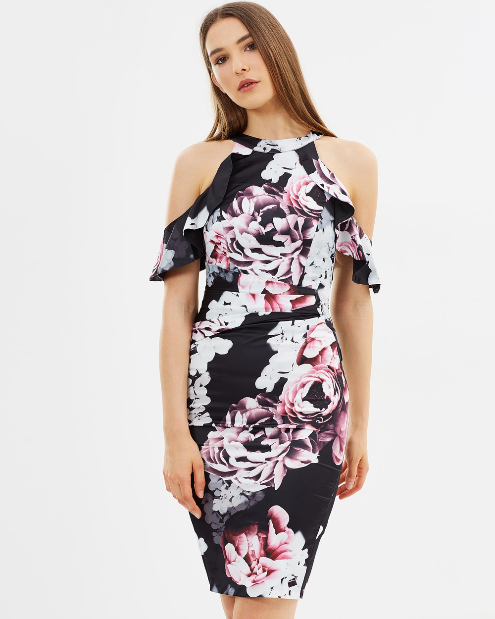 Lipsy Ella Print Cold Shoulder Satin Shift Dress Dresses Print Ella Print Cold Shoulder Satin Shift Dress