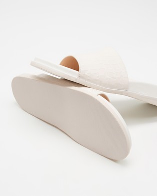 Atmos&Here Zoe Leather Slides - Sandals (White Croc Embossed Leather)