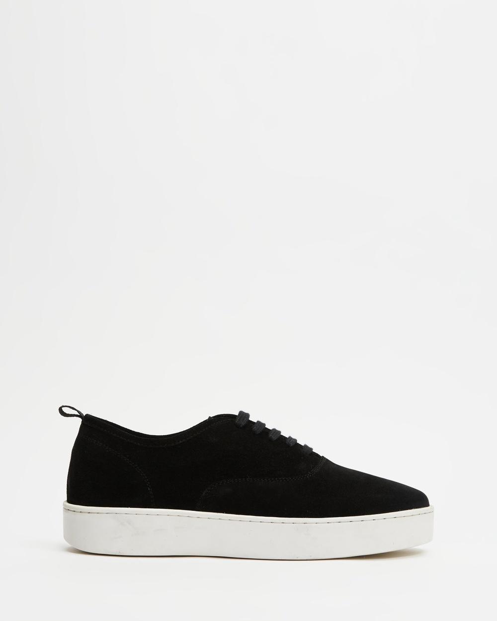 AERE Low Top Suede Sneakers Black Suede