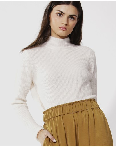 Fate + Becker Marty Turtleneck Knit Top Cream