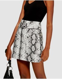 TOPSHOP - Snake Print Leather-Look Belted Mini Skirt