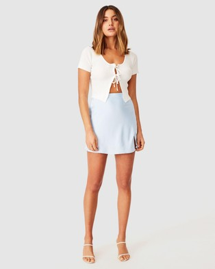 Supre Averi Tie Front Knit - Cropped tops (White)
