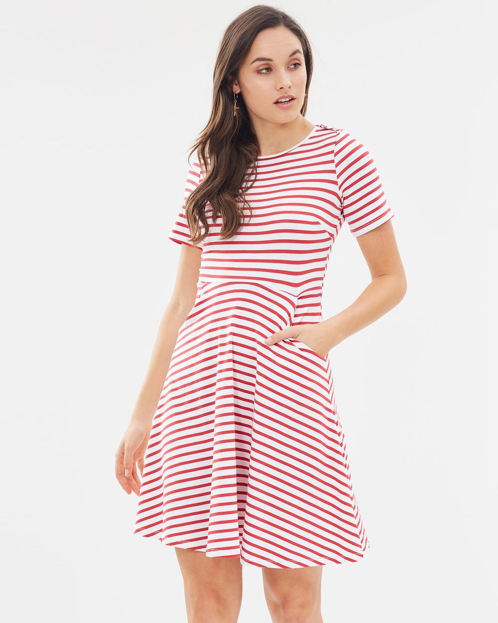 Dorothy Perkins Shoulder Trim Jersey Dress Dresses Red & White Shoulder Trim Jersey Dress