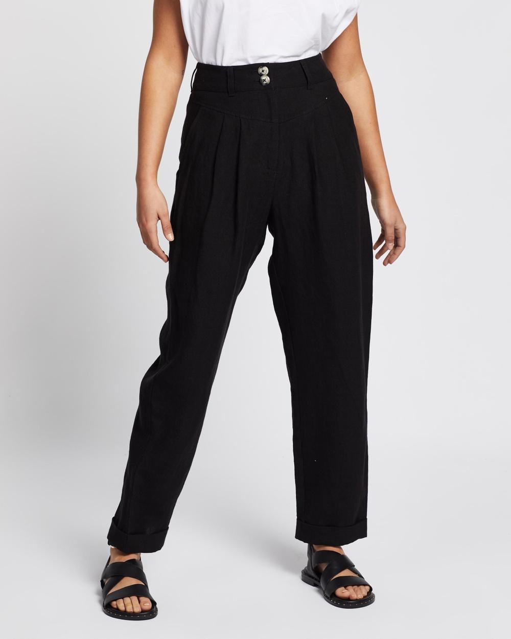AERE Linen Tapered Pants Black