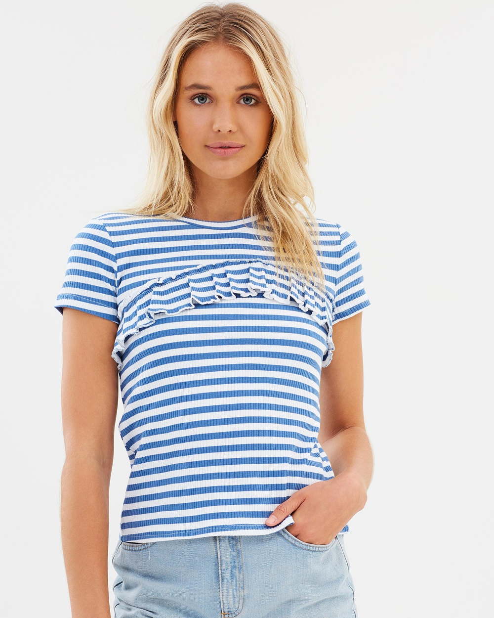 Atmos & Here ICONIC EXCLUSIVE Florence Frill Tee Tops Blue & White Stripe ICONIC EXCLUSIVE Florence Frill Tee
