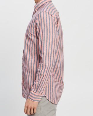 Tommy Hilfiger Cotton Linen Multi Stripe Shirt - Casual shirts (Washed Vermillion, Carbon Navy & White)