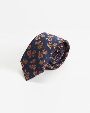 Tie Lab - 3 Piece Gift Box Set - Ties (Orange & Blue) 3-Piece Gift Box Set