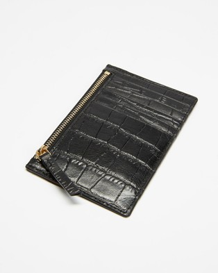Fall The Label Slim Black Credit Card Wallet - Wallets (Black Croc)