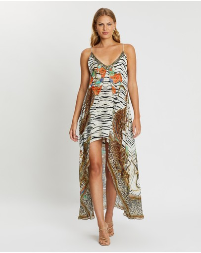 Camilla Flared Mini Dress With Sheer Overlay Cosmic Conflict