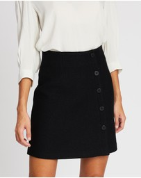Marcs - Felted Wool Button Mini Skirt